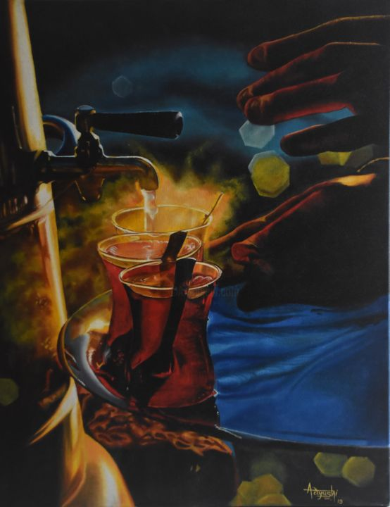 """Painting titled """"Warmth"""" by Aayushi Gajjar, Original Art, Oil Mounted on Stretcher frame"""