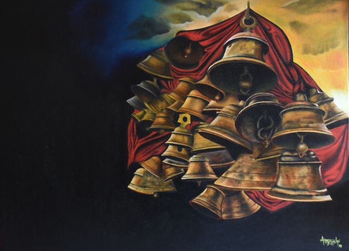 """Painting titled """"Bells"""" by Aayushi Gajjar, Original Art, Oil Mounted on Stretcher frame"""