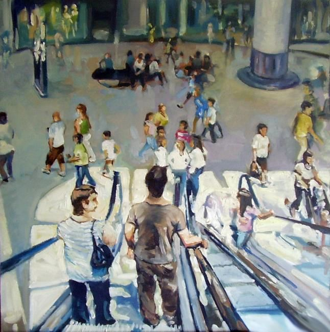 The Grand Arcade - Painting,  60x60 cm ©2008 by Anthony Barrow -                                                        Impressionism, Canvas, People