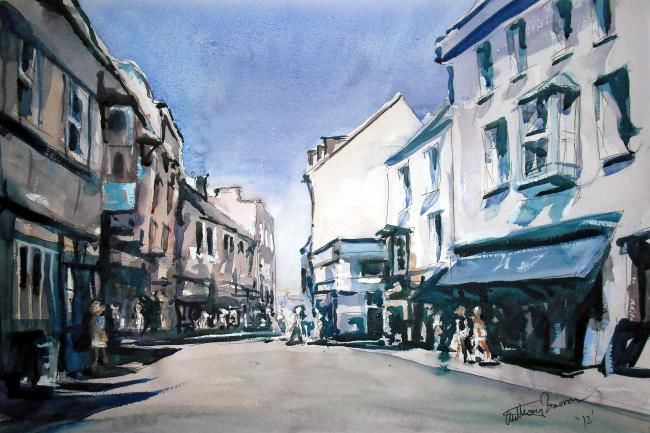 Tenby Town - Painting,  35x50 cm ©2012 by Anthony Barrow -