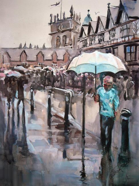 Wet Wigan - Painting,  45x35 cm ©2012 by Anthony Barrow -                        Impressionism