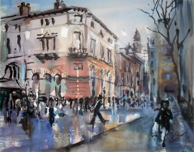 Manchester Street - Painting,  45x45 cm ©2012 by Anthony Barrow -