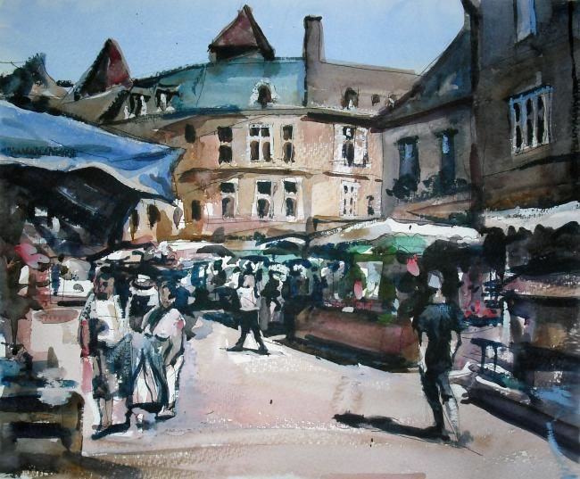 French Market - Painting,  35x35 cm ©2012 by Anthony Barrow -