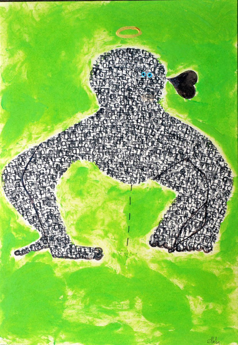 gorilla-mixed-media-on-cardboard-50-x-35-cm-2017.jpg - Painting,  50x35x0.1 cm ©2017 by ABBA -                                                                        Naive Art, Outsider Art, Paper, Animals, gorilla
