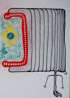 Finger to Rio - Painting,  50x70 cm ©2012 by ABBA -                            Contemporary painting, finger to Rio  mixed media on paper cm 70 x 50 2012