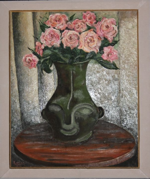 iles-roses-de-malaisie-2011.jpg - Painting,  20.1x16.5 in, ©2011 by SELKA -                                                                                                                                                                                                                                                                                                                  Figurative, figurative-594, Flower, bronze, voyage, beauté