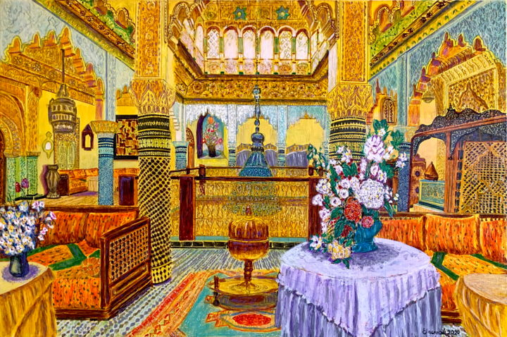 """Painting titled """"Maroc Architecture…"""" by Abderrahim El Asraoui, Original Art, Oil Mounted on Wood Panel"""