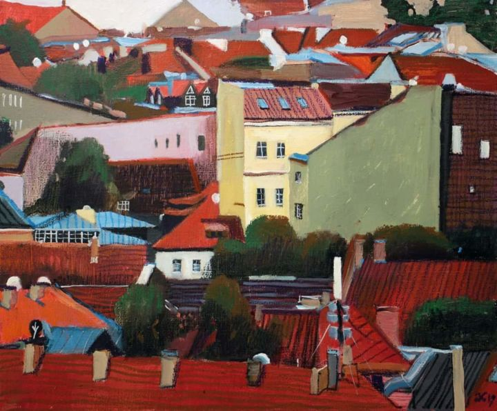 """Painting titled """"Vilnius roofs-1"""" by Anastasia Bereza, Original Art, Acrylic Mounted on Stretcher frame"""