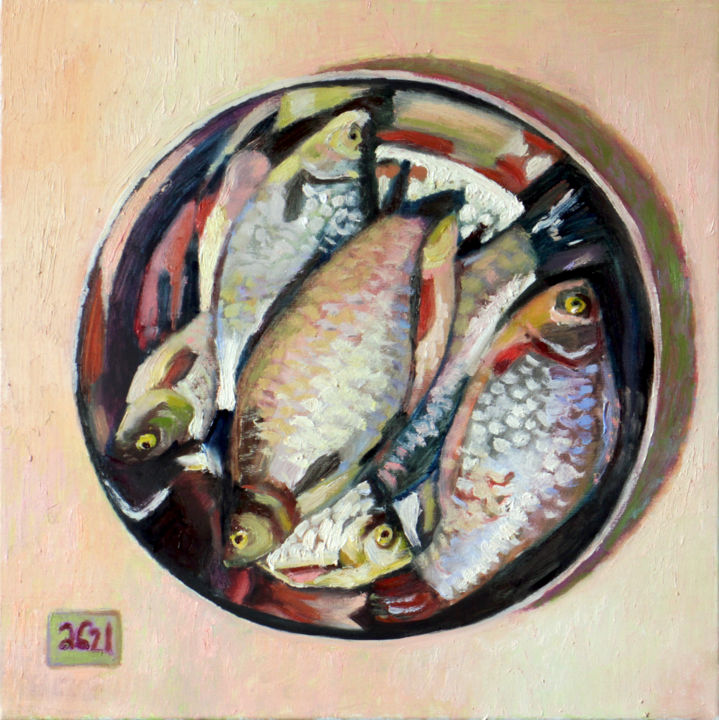 """Painting titled """"Carp in a bowl"""" by Anastasia Bereza, Original Art, Oil Mounted on Stretcher frame"""