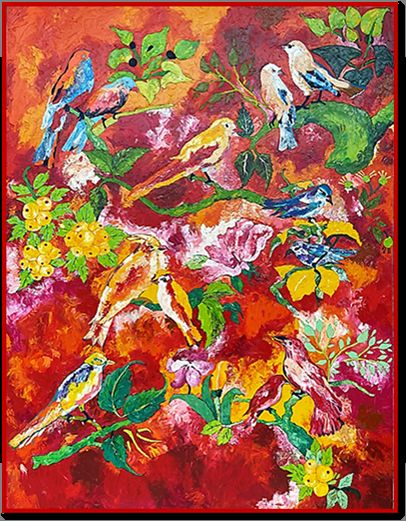 """Painting titled """"Conference of Birds"""" by Abha Rani Singh, Original Art, Oil"""