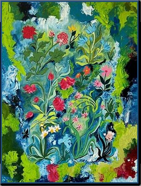 """Painting titled """"Flowers in Wild"""" by Abha Rani Singh, Original Art, Oil"""