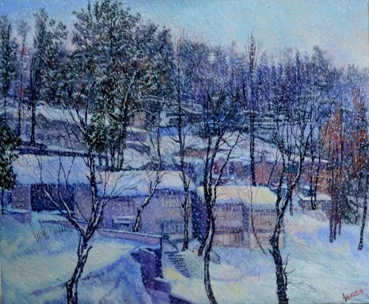 """Painting titled """"Chilled winter again"""" by Abid Khan, Original Art, Oil"""