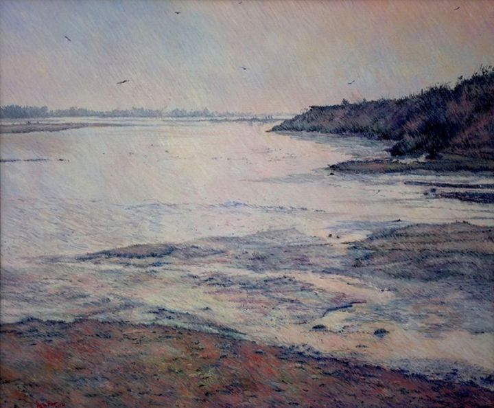 """Painting titled """"River view from the…"""" by Abid Khan, Original Art, Oil"""