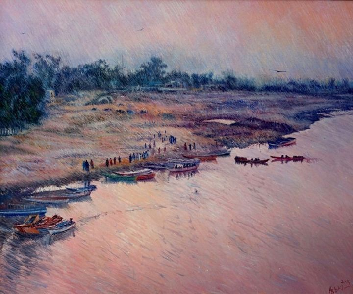 """Painting titled """"Pleasant moments in…"""" by Abid Khan, Original Art, Oil"""