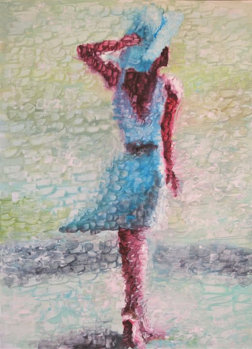 She is a lady - Painting,  57x42x1 cm ©2019 by AbstracTony -                                                                                Abstract Art, Impressionism, Abstract Art, Love / Romance, Women, woman, lady, girl, amazing, beauty, beach, coast, summer, shore, sun, ray, acrylic, painting, walk, sand, interior, design, room, decor