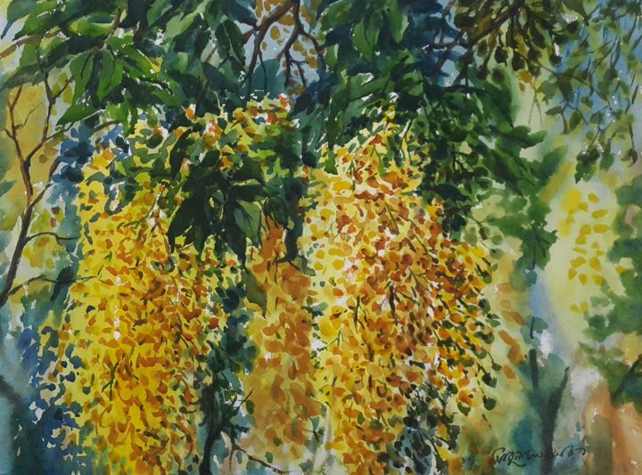 """Painting titled """"essence of haven-1"""" by Abu Naser Robii, Original Art, Watercolor"""