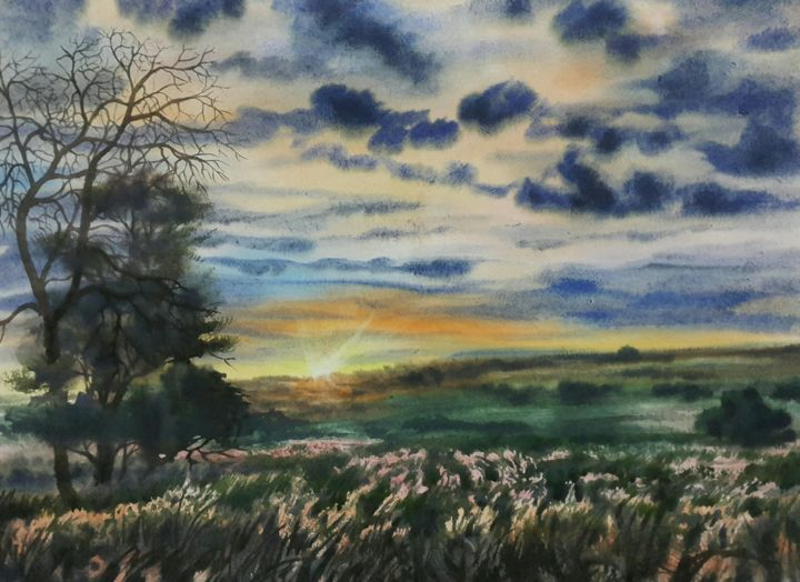"""Painting titled """"Sunshine in the Mou…"""" by Abu Naser Robii, Original Art, Watercolor"""