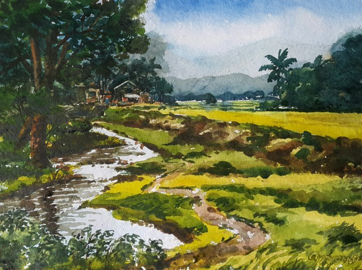 """Painting titled """"On the way to you-3"""" by Abu Naser Robii, Original Art, Watercolor"""