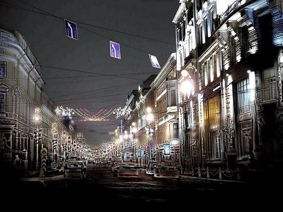 St. Petersburg, Nevsky prospect by night - Photography,  30x40 cm ©2007 by Andrew Volodutsky -