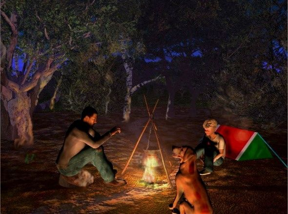 At camp-fire - Digital Arts ©2006 by Andrew Volodutsky -