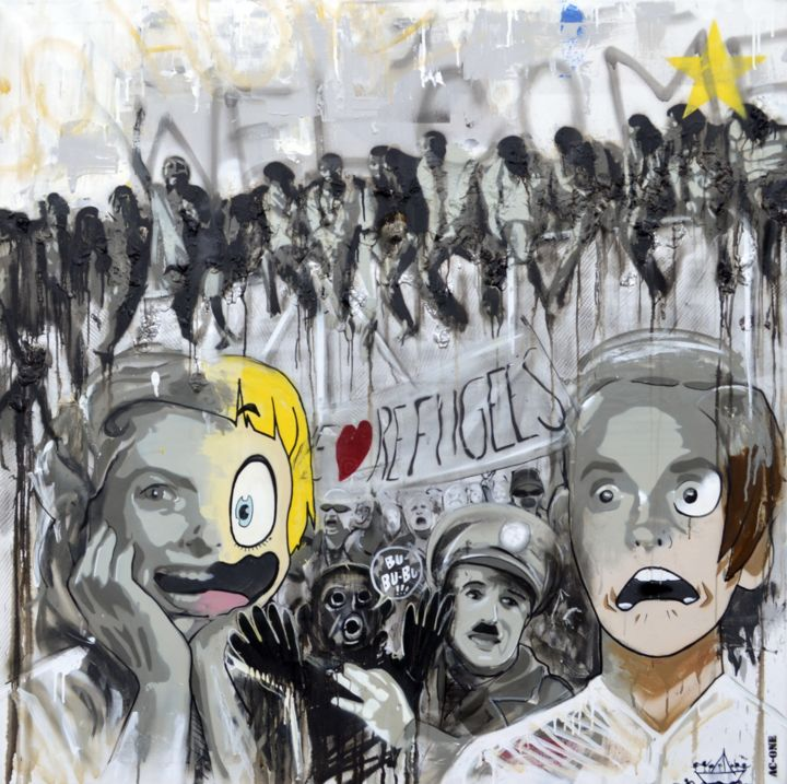 """Painting titled """"new citizens"""" by Ac1, Original Art, Acrylic"""