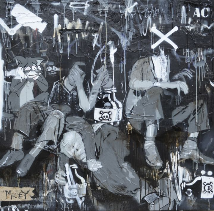 """Painting titled """"dark corner 3"""" by Ac1, Original Art, Spray paint Mounted on Stretcher frame"""