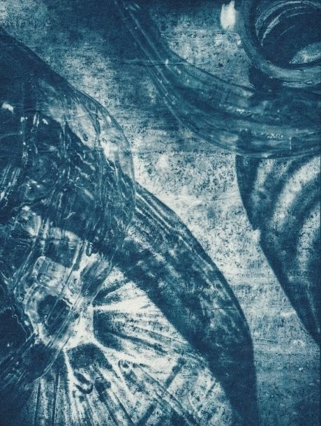 Ombres reflêts - Photography,  18x13.5 cm ©2018 by Ariane Canta-Brejnik -                            Paper, cyanotype, blue print