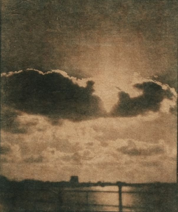 Nuages - Photography,  6.7x5.1 in, ©2019 by Ariane Canta-Brejnik -                                                                                                                                                                                                                                                                                                                                                                                                                                                                              Seascape, cyanotypes virés, cianotipia virada, toned cyanotype, cyanotype, cianotipia, nos matins à l'atenea, washi, cyanotype on oizu, Limited Edition