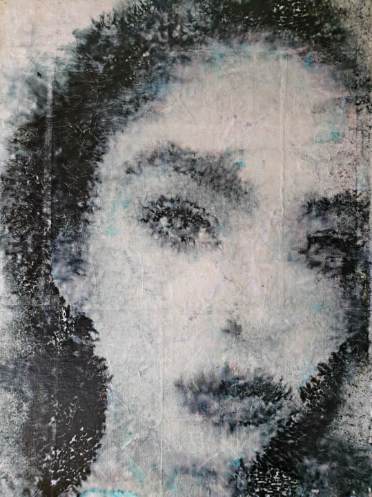 Will come back (n.461) - Painting,  80x60x0.5 cm ©2019 by ALESSIO MAZZARULLI -                                            Abstract Art, Women, waves, soul, white, black, grey, pink, face, woman, love, alone
