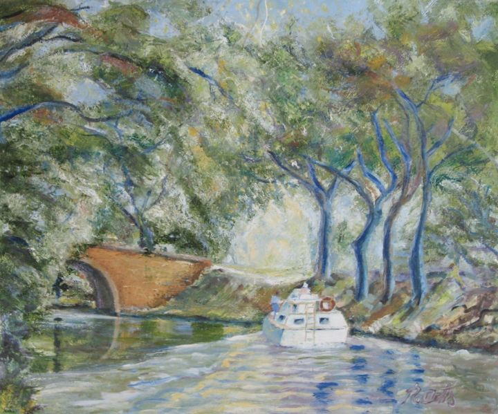 canal du midi - Painting, ©2017 by Actis-Datta Di Carasco -