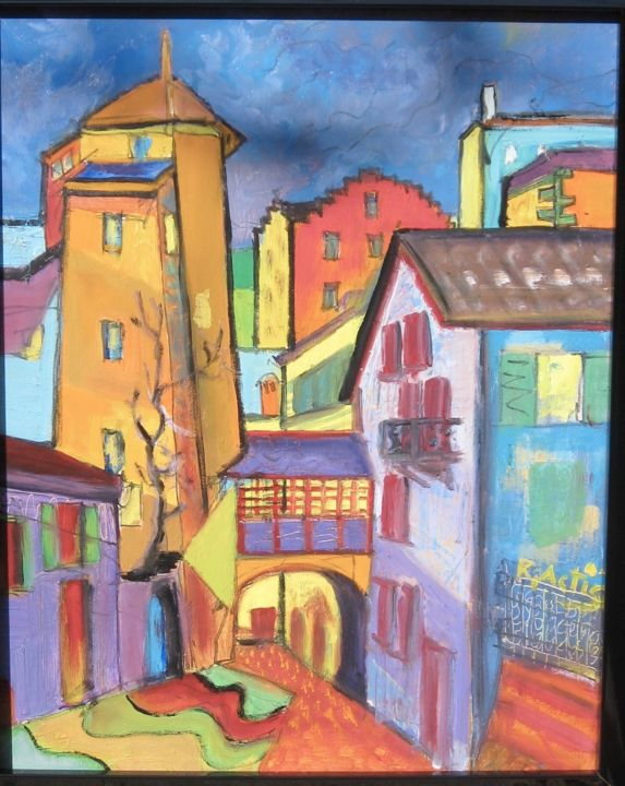 Le Vieux Collège - Painting,  31.5x23.6x0.8 in, ©1999 by Actis-Datta Di Carasco -