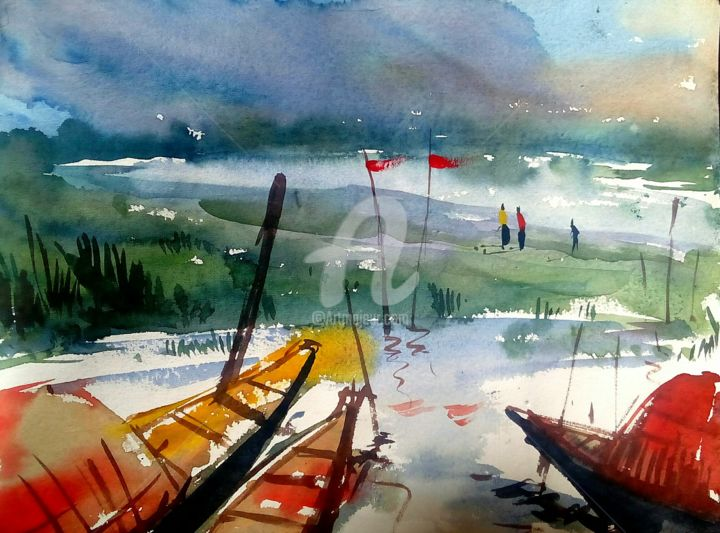 """Painting titled """"boats -3"""" by Adward, Original Art, Watercolor"""