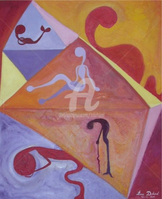 tranche de vie - Painting,  28.9x25.6 in, ©2007 by anne dahirel -