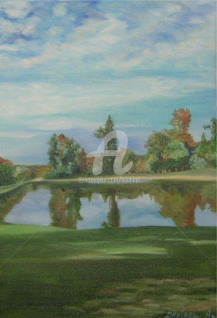 le lac de Rambouillet - Painting,  13.8x9.5 in, ©2007 by anne dahirel -