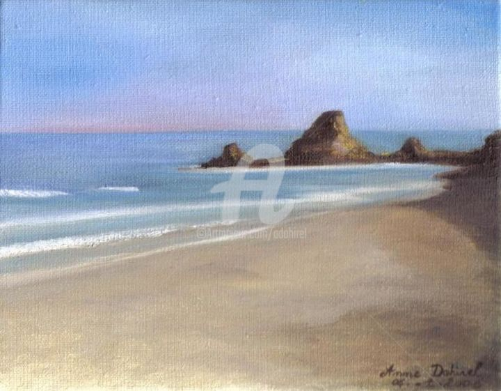 Bord de mer - Painting,  7.5x9.5 in, ©2004 by anne dahirel -