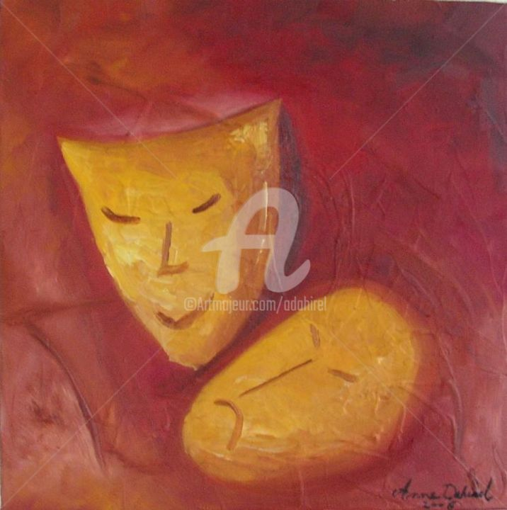 masque - Painting,  11.8x11.8 in, ©2004 by anne dahirel -