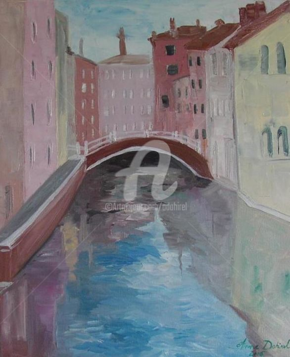 venise - Painting,  18.1x15 in, ©2004 by anne dahirel -