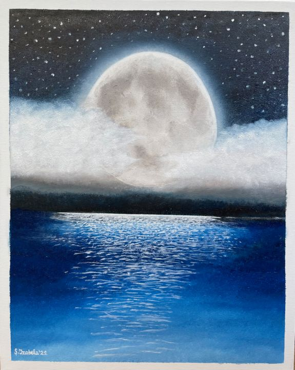 """Painting titled """"The Moon and Sea"""" by Adela Izabela Ștefan, Original Art, Oil"""