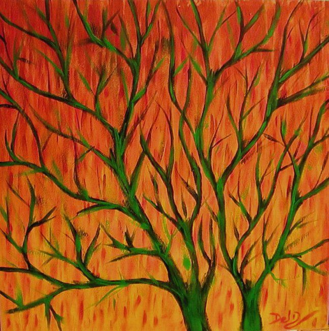 RAMAS SOBRE NARANJAS / BRANCHES - Painting,  40x40 cm ©2006 by Adela Casado -                            World Culture, RAMA RAMAS ARBOL ARBOLES PAISAJE BRANCH BRANCHES TREE LANDSCAPE YOU HOIST nature dead naturaleza muerta otoño invierno winter autumn red orange
