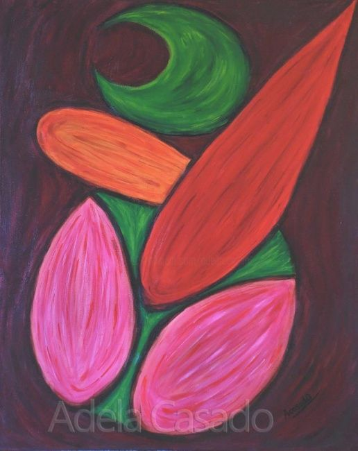 ALQUIMIA FLORAL - Painting,  81x65 cm ©2007 by Adela Casado -                                                                                                            Expressionism, Conceptual Art, Abstract Art, Canvas, Fabric, Agriculture, Nature, ecologismo, naturaleza, hojas, medio ambiente, calentamiento global, adelacasado, acasado, adela casado, arte feminista, ecologisme, ecologia, green, verdes