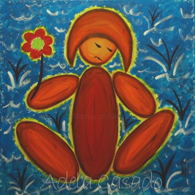 THE PROTECTOR OF THE FLOWER - Painting,  50x50 cm ©2007 by Adela Casado -                            Naive Art, naif protector flor flower ocean sea mar water Thaw deshielo FLOODS calentamiento global Warming ecology ecologisme ecologista ecologiste ecologist ecologia inundaciones inundacion Flooding adela casado arte contemporary art