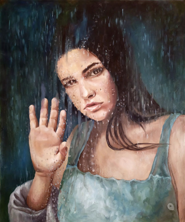 """Painting titled """"Behind the glass, i…"""" by Adelacreative, Original Art, Oil Mounted on Stretcher frame"""