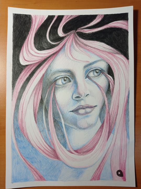"""Drawing titled """"Girl with pink hair…"""" by Adelacreative, Original Art, Pencil"""