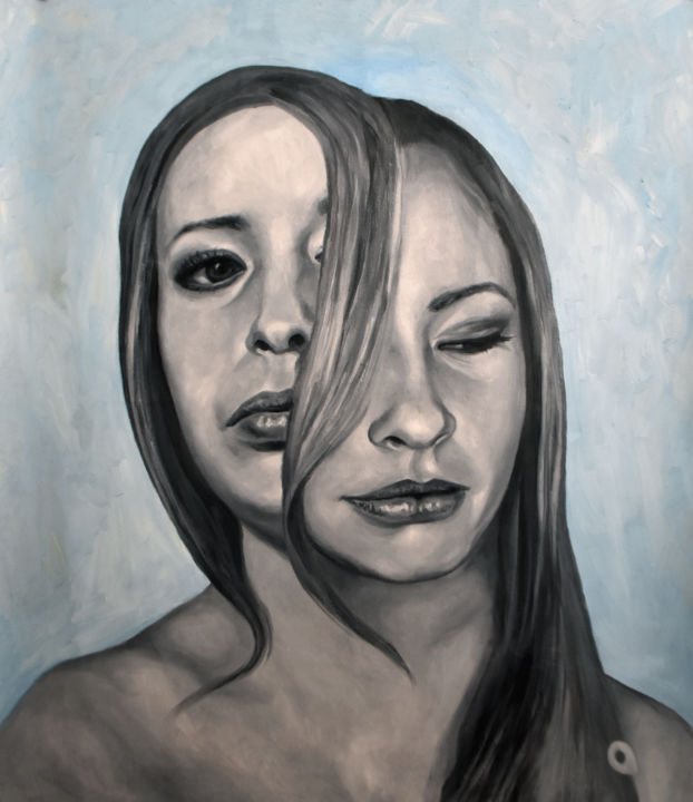 """Painting titled """"Portrait Duality An…"""" by Adelacreative, Original Art, Oil"""