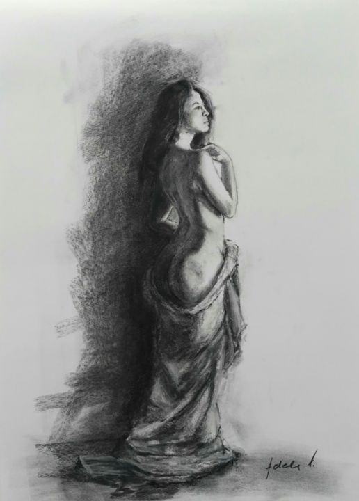 """Drawing titled """"Standing draped nude"""" by Adela V, Original Art, Charcoal"""