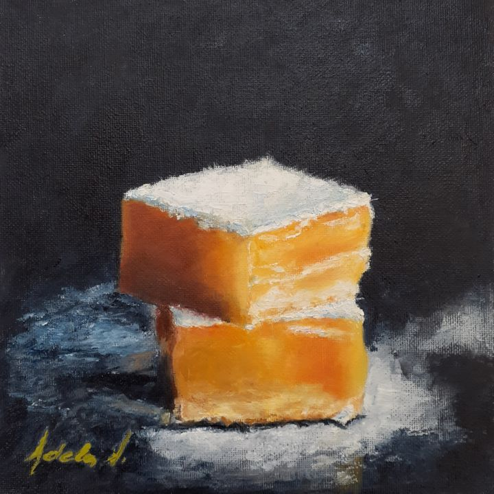 """Painting titled """"Still life with lem…"""" by Adela V, Original Art, Oil Mounted on Cardboard"""