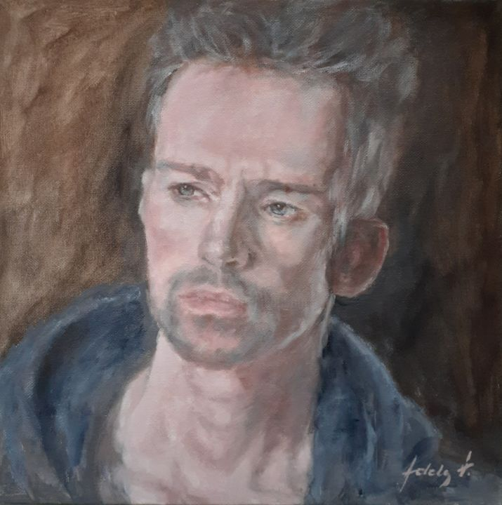 """Painting titled """"Man's portrait in a…"""" by Adela V, Original Art, Oil Mounted on Cardboard"""