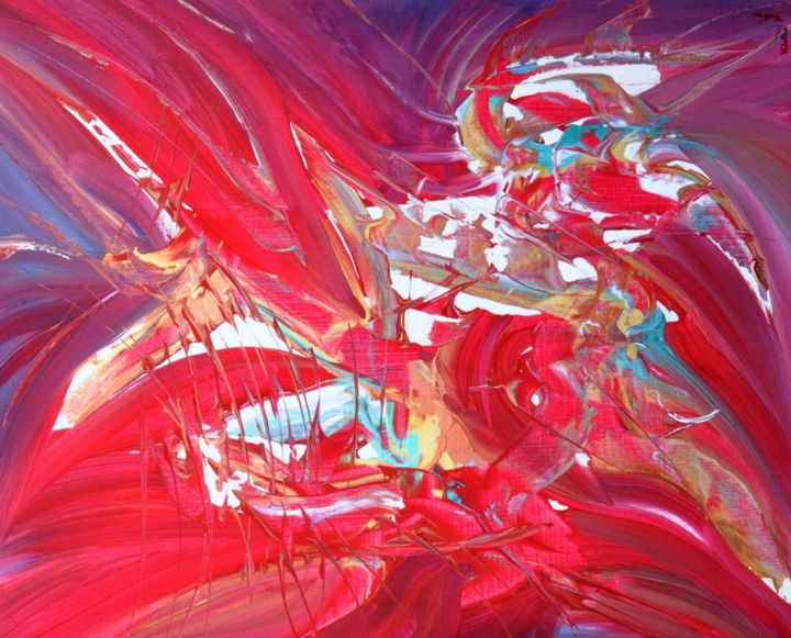 Le rouge d'une mer - Painting,  29.9x35 in, ©2020 by Adelia Martins -                                                                                                                                                                                                                                                                                                              Abstract, abstract-570, Love / Romance, Architecture, Abstract Art, Botanic