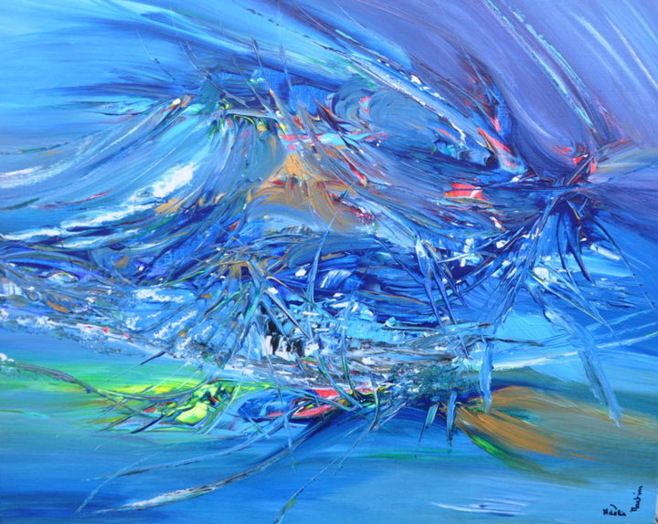 Mon pirate - Painting,  29.9x35 in, ©2020 by Adelia Martins -                                                                                                                                                                                                                                                                                                                                                          Abstract, abstract-570, Love / Romance, Architecture, Abstract Art, Boat, Water