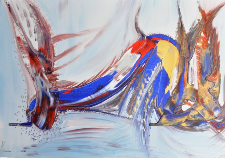 Volupté des eaux - Painting,  27.6x45.7 in, ©2020 by Adelia Martins -                                                                                                                                                                                                                                                                                                              Abstract, abstract-570, Love / Romance, Architecture, Abstract Art, Boat